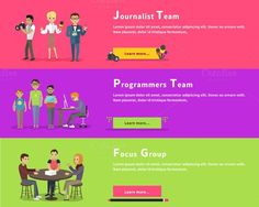 Journalists Team, Programmers Geek. Business Infographic