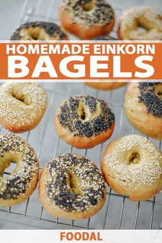 These homemade bagels are as good as any from New York City. Crispy on the outside and with just the right amount of softness and chewiness inside. Recipes With Einkorn Flour, Einkorn Bread, Yeast Bread Recipes, Flour Recipes, Donut Recipes, Casserole Recipes, Crockpot Recipes, Cooking Recipes, Healthy Recipes