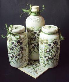MonaDecu: listopad 2012 Recycled Jars, Recycled Glass Bottles, Glass Bottle Crafts, Diy Bottle, Bottle Art, Decoupage Jars, Decoupage Vintage, Altered Bottles, Bottle Painting