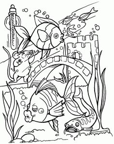 Sea creature coloring pages Schools of fish  Coloring Print