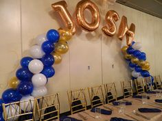 Very cool balloon arch with the birthday boys name on it. http://www.grandmarquiscaterers.com. #birthday, #Mitzvah,, #Hollywood, #GrandMarquis.