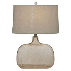 Cast a warm glow in your living room or home office with this lovely table lamp, showcasing a bubble-glass base and drum shade.  Product...
