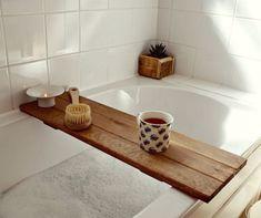 Bath tray reclaimed wood tray bathroom decor bath caddy wooden over bath tray medium oak colour Bath Caddy Wooden, Bath Tray Caddy, Wooden Bathroom Shelves, Wooden Floating Shelves, Wood Bathroom, Diy Bathroom Decor, Wooden Bath Panel, Bathroom Ideas, Family Bathroom
