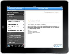 qxmd QxMD's Medical Calculator app contains more than 150 varieties of different medical specialty calculators along with decision support tools. The app's search function lets you look for calculators by specialty. The app can assist you in a variety of medical calculations like dosages, laboratory values, and prognosis percentage to name a few.
