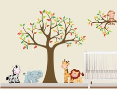 Cute Jungle Animals wall decal - perfect for a nusery!  Made with fabric decal material - much better than vinyl!