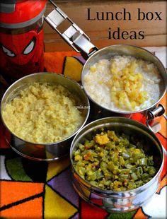 Morkuzhambu Rice, Curd Rice and Beans paruppu usili-Indian Lunch box Ideas (Office/College/School)  http://www.upala.net/2016/01/morkuzhambu-rice-curd-rice-and-beans.html