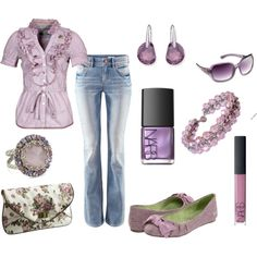 Lavender Fields - Polyvore Anytime I see a cute outfit with flat or low healed shoes I'm thrilled