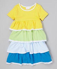 Look at this #zulilyfind! Yellow & Green Tiered Babydoll Dress - Girls by Modest Boutique #zulilyfinds