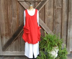 linen jumper pinafore apron  tunic smock in red by linenclothing, $139.00