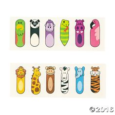 Zoo Animal Finger Puppet Tattoos