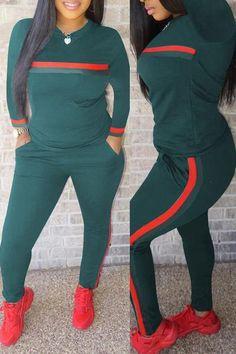 e883dcf9a241 Shyfull Casual Striped Two-piece Pants Set