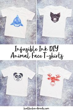 Learn how to make DIY animal face t-shirts with infusible ink and sewing. These animal faces have extra 3-D details for a pop of fun. I love adding extra details to my Infusible Ink projects. It's so easy when the Cricut Maker is doing the work for me. It's amazing that I can apply the Infusible Ink to fabric, and then be able to easily sew fabric onto it without damaging the design. I combined them to make the cutest DIY animal face t-shirts with 3-D details that stand out and move around. Baby Sewing Tutorials, Baby Sewing Projects, Sewing Blogs, Sewing Patterns Free, Sewing Ideas, How To Make Diy, Learn To Sew, Blank T Shirts, Face Design