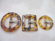3 Vintage Faux Tortoise Shell Tone Color Plastic Belt by furrybaby, $3.00