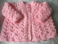 Hand Knitted Pink Matinee Cardigan, Fits 0 - 3 mths £8.99