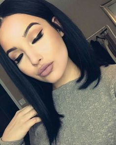 Matte lips with black hair inspo