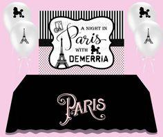 Paris Themed Backdrop, Parisian Party Banner, A Night In Paris Banner, Custom Backdrops Paris Birthday Parties, Birthday Party Themes, Paper Party Bags, Parisian Party, Birthday Backdrop, Paris Theme, Backdrops For Parties, Night, Custom Backdrops