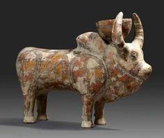 Polychrome terracotta humpbacked bull. Indus Valley, 3rd millennium B.C.