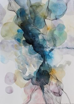 """ARTFINDER: A Thing Recollected by Helen Wells - This piece is called """"A Thing Recollected"""". It is a calm and positive abstract watercolour painting, inspired by a distant happy memory. Made by adding mul..."""