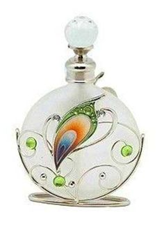 PEACOCK GLASS PERFUME BOTTLE Collectable Gift Ornament FREE SHIPPING