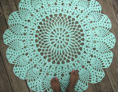 Robins Egg Blue Cotton Crochet Rug in Large Circle Pineapple Lacy Pattern Non Skid. $100.00, via Etsy.