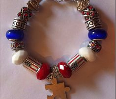 European Pandora style glass bead bracelet Memorial Day tribute on Etsy, $35.00