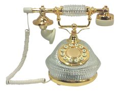 Hollywood Regency Gold Plated Crystal French Style Telephone on Chairish.com