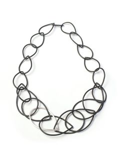 Eleanor necklace - steel and silver chain link necklace - megan auman Sterling Silver Jewelry, Silver Earrings, Silver Ring, Silver Jewellery, 925 Silver, Earrings Uk, Bronze Jewelry, Steel Jewelry, Silver Bracelets