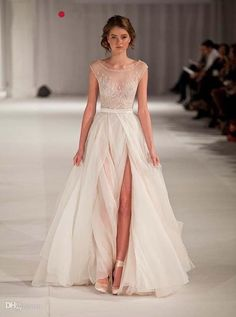 Wholesale A-Line Wedding Dresses - Buy 2014 New Arrival Wedding Dresses Sheer Elie Saab Sexy Cheap Winter Side Slit with Sleeves Sweep Train Designer Bridal Gown, $180.0 | DHgate