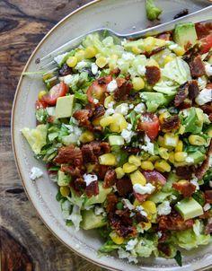 BLT Chopped Salad with Corn, Feta + Avocado I http://howsweeteats.com