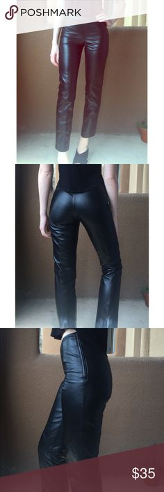 Genuine leather vintage ankle pants Real leather mid waist ankle pants. Simple sleek design. Hang measured waist at 24 inches. Tag reads size zero. Brand used to exposure Topshop Pants Ankle & Cropped