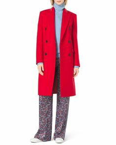 Double-Breasted Wool Coat, Long-Sleeve Turtleneck, Paisley-Print Silk Pants & Natasia Three-Tone Naked Sandal by Michael Kors at Neiman Marcus.