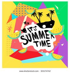 Summer time vector banner design with white abstract background for text and colorful tropical beach elements. Vector illustration template for event.
