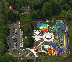 Clemyjontri Park, Fairfax County, Virginia. Built with children with disabilities in mind, the entire park is equipped with ramps for wheelchairs. The ground surfaces are specially designed with non-slip material. #inspired #playgrounds #kids