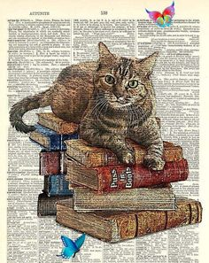 Book Decor Your Pet, Customized, sitting on Book stacks ! Send me a photo of your Pet laying or sitting, that will work on this book stack. You can order additional copies of your custom print at $9.99 each. Just send me a message. Beautifully upcycled vintage dictionary page book art print.<br>
