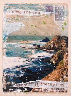 By Mae Chevrette. A Little Love Note (To The Sea) - framed original mixed media painting - gel image transfer on vintage envelope, ocean beach themed