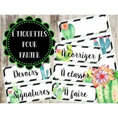 """Étiquettes panier """"Cactus"""" Back To School Organization, Classroom Organization, Cactus, Alhamdulillah For Everything, School Subjects, Printable Planner Stickers, Teaching French, Doa, Teacher"""