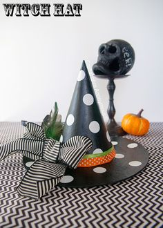 DIY Polka dot witch hat craft. Add feathers for a fun touch!