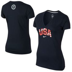 Nike Team USA Women's Slim Fit V-Neck Performance T-Shirt - Navy Blue