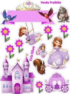 Princess Sofia Cake, Princess Sofia Birthday, Princess Sofia The First, Princess Cupcake Toppers, Cupcake Toppers Free, Sofia The First Birthday Cake, Happy Birthday, Sofia The First Cartoon, Bolo Sofia