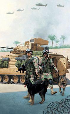 Army MP Dog Handler, GI Joe illustration by Larry Selman