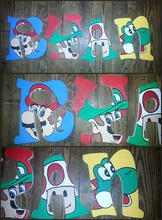 Super Mario Bros Inspired Wooden Letters by DanicaBowtique on Etsy
