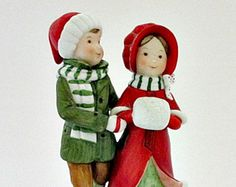 Holly Hobbie and Robby 1980 Christmas is Love Porcelain Limited Edition Vintage Figurine