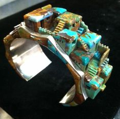 Architectural Jewelry! Steve Yellowhorse Navajo Indian Cuff Bracelet Turquoise Sterling Silver.