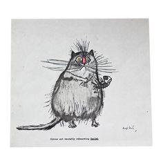 Ronald Searle Cat Print I
