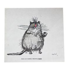 Ronald Searle Cat Print I