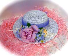 Girl's Tea Party Hat Easter Bonnet Blue Flower by Marcellefinery