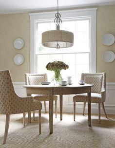 Palisades Dining Chairs in AF Lanford velvet Cream #Thibaut
