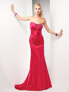 Sheath Strapless Crumb Catcher Beaded Bustline Ruched Bodice Knotted Back Satin Prom Dress-sop0054, $209.95