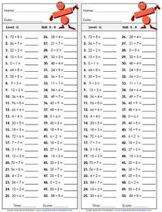 Gallery For > Multiplication And Division Worksheets Grade 5