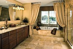 Toll Brothers Corcoran - Spring Lake Estates, Prior Lake, Minnesota interesting idea for the curtains for the tub area Mobile Home Makeovers, Bath Inspiration, Home, Dream Bathrooms, House Styles, Bathroom Inspiration, Home Remodeling, House, Luxury Homes